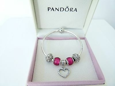 Authentic Pandora  Bangle with Heart charm & Authentic Petite beads - WHOLESALE
