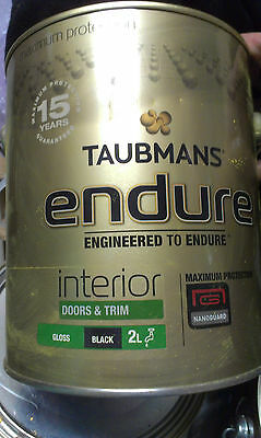 taubmans endure interior paint  4 litre gloss water based   black in colour