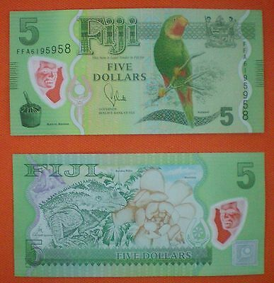 Fiji $5 FIVE Dollars 2012/13 Polymer PARROT Bank Note PREFIX FFA UNC AUTHENTIC