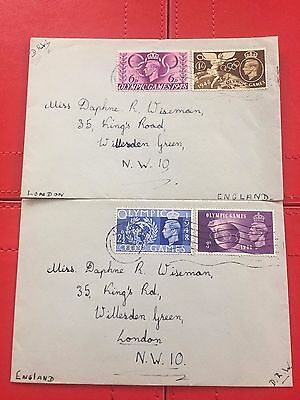 Gb 29Th July 1948 Olympic Games Set Of 4 Stamps On Two First Day Covers