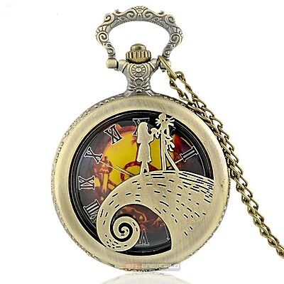 Bronze Nightmare Before Christmas Jack & Sally Pocket Watch Pendant + Necklace