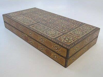 "1940's Vintage Inlaid Wood Marquetry Chess Backgammon Board Box Egyptian 20""x20"""
