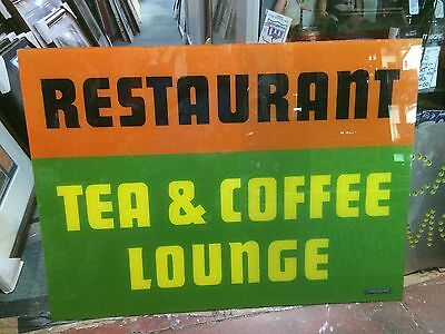 Great 'restaurant - Tea And Coffee Lounge' Perspex Sign - Milk Bar - Not Enamel
