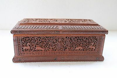 Old Fine Hand Craved Anglo Indian Mysore Estate God Engraved Wooden Box NH3486