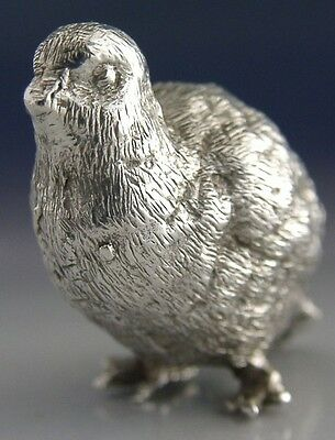 HEAVY SOLID STERLING SILVER MINIATURE PARTRIDGE FIGURE 1972 HUNTING SHOOTING 52g