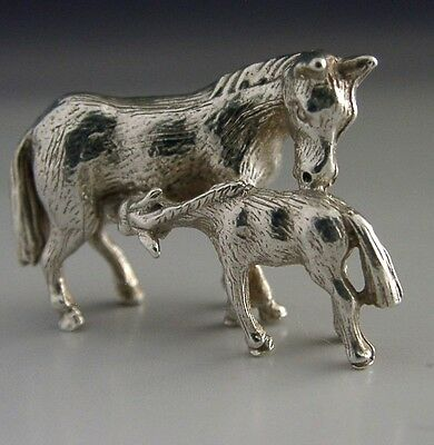 Solid Sterling Silver Miniature Horse & Foal Figure Riding Hunting 1979