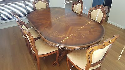 Vintage / Baroque / Italian Wood Carved Dining Table and Chairs