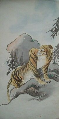 ORIGINAL EARLY 20th CENTURY ORIENTAL WATERCOLOUR - TIGER ON A MOUNTAIN - JAPAN?