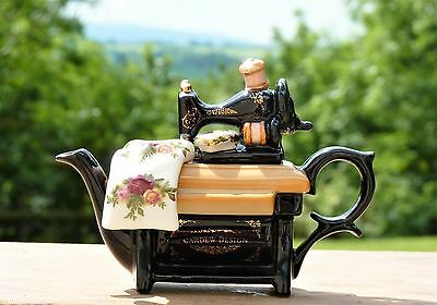 Small Vintage Royal Albert Old Country Roses Teapot Sewing Machine Cardew Design