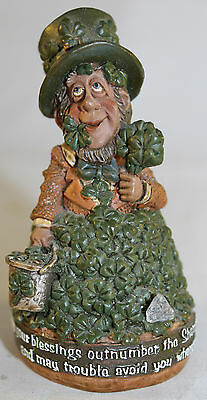 "Finnians Irish Leprechaun Shamrock Figurine With Real Blarney Stone 3"" Tall"