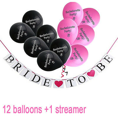 """Happy Bachelorette Party Balloons, """"Bride to Be"""" Banners Garland Home Decoration"""