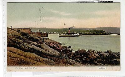 """CLYDE STEAMER """"NEPTUNE"""" OFF THE PIER, MILLPORT: Isle of Cumbrae postcard (C27945"""