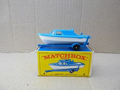 Matchbox Lesney No. 9 Cabin Cruiser & Trailer - Very Near Mint With Original Box