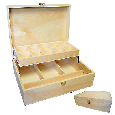 Fold out Wooden Craft sorting station box with 14 compartments on 2 levels WOW