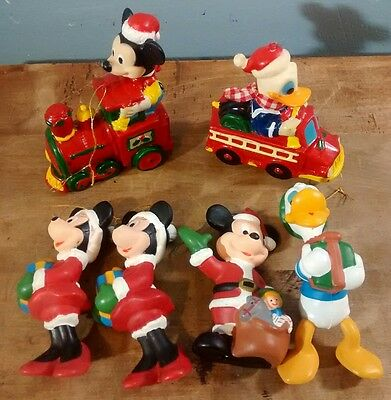 Lot of 6 Vintage Mickey, Minnie, Donald Ornaments by The Walt Disney Co.