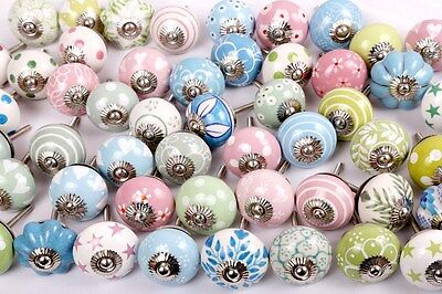 Mixed Shabby Chick Ceramic Door Knobs Kitchen Cabinet Drawer Puller Pulls
