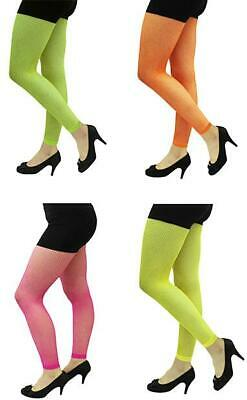UV Party Bright Neon Rave Fishnet Leggings Footless Diamond Stretch 80s