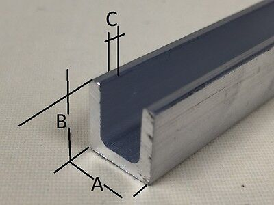 Aluminium Extruded U Channel Section Profile Length 2000 mm - Free Cut Service