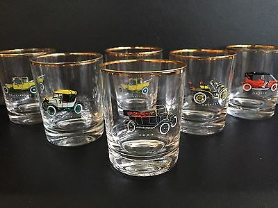 """6 Vintage Retro 1950S / 1960S Tumblers With Car Motifs / Makers - 3.5"""""""