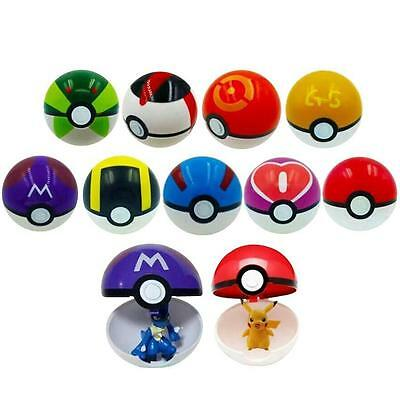 9 Pokemon Pokeball Pop-up 7cm Cartoon Plastic BALL Pikachu Monster Toy Kids Gift