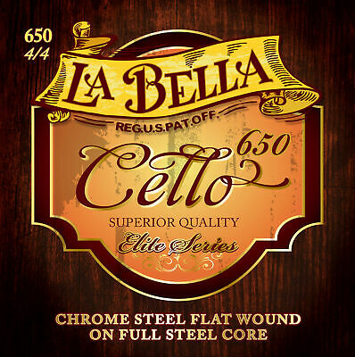 La Bella Elite Series Flat Wound Chrome Steel  4/4 Cello Strings  Set