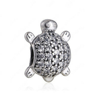 Sterling Silver European CZ Pave Sea Turtle Charm -FREE Pandora Cloth