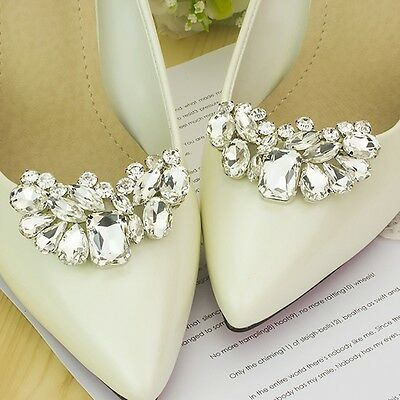 Chic Women Shoe Charms Rhinestone Shoes Clips Bag Shoe Clothes Accessories 2pc