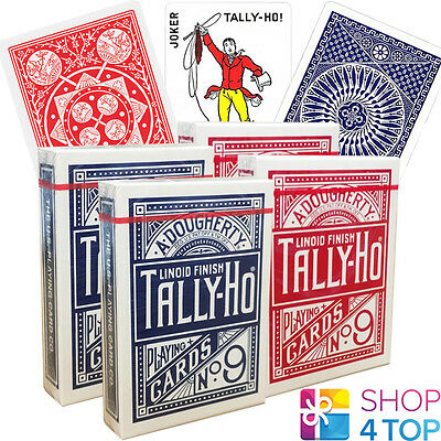 4 Decks Bicycle Tally Ho 2 Circle 2 Fan Back Playing Cards Linoid Red Blue New