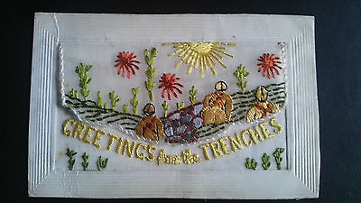 Ww1 Silk Embroidered Postcard Greeting From The Trenches Tommies Going Over Top