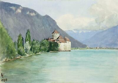 CHILLON - Schloss Chillon - Genfersee - Aquarell 1896