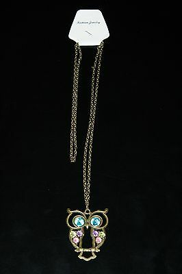 VINTAGE RETRO COLORFUL CRYSTAL OWL PENDANT AND CHAIN w/ ANTIQUED BRONZE/BRASS