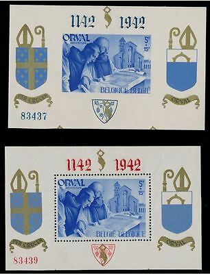 Belgium Sc. B303 - B304 Orval Abbey Privately Trimmed and Overprinted 1941 MNH