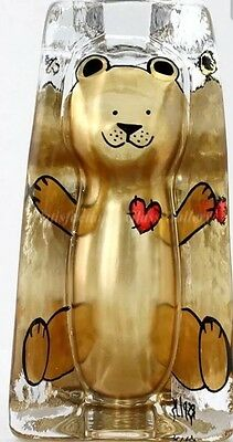 1956 Sea Glas Bruk Teddy Collector Paperweight Hand Painted Gold Vintage Antique