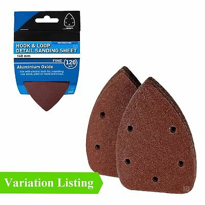 Hook and Loop 140mm Detail Sanding Sheets 120 Grit Palm Sandpaper Pads