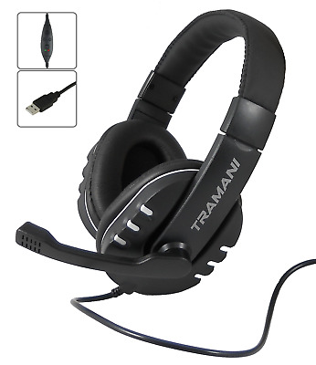 Gaming USB Headset 2.0 Stereo Kopfhörer PC PS3 PS4 XBox One Mac Büro by Tramani