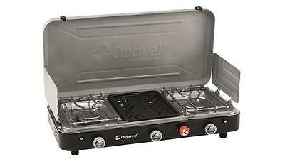 Outwell Chef Cooker LPG Gas 3 Burner Camping Stove With Grill - RRP £99.99 2017