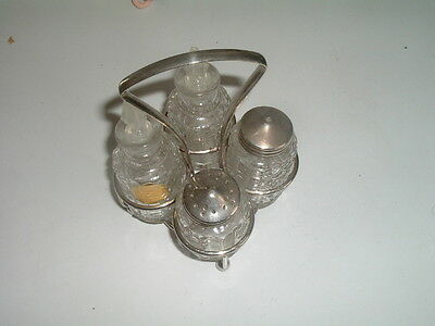 Vintage Pressed Glass Cruet Set  4 Piece SET from England, Never Used