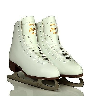 Graf Davos junior Figure Skates  White COMPLETE WITH BLADES - Free Postage