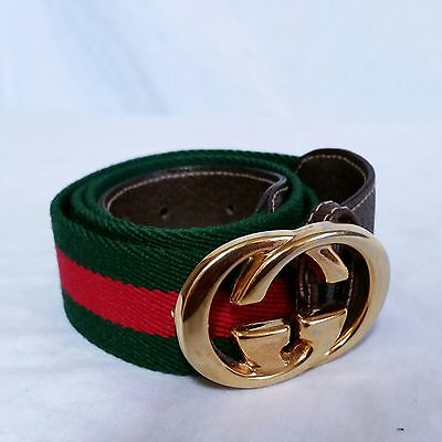 VTG Gucci Belt Italy GG Red Green 85 54 Mens Designer Leather 32
