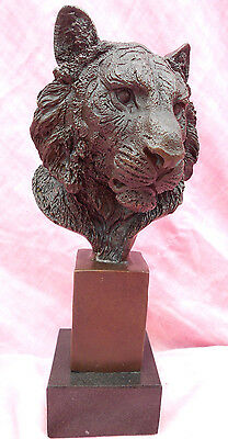 """SIGNED HOT CAST SOLID BRONZE LION HEAD FIGURINE ON MARBLE BASE 10"""" TALL 2.25 Klo"""
