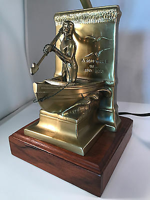 VTG Bronze Metal New Bedford Whaleman Statue Nautical Figural Table Lamp Wood Ba