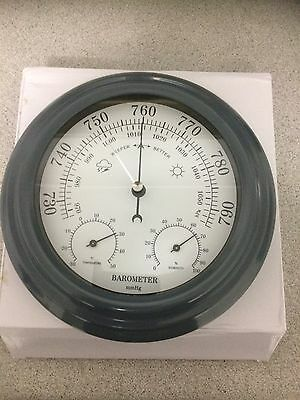 3 in 1 200mm Quality Gunmetal Grey Finish  Barometer - Temperature - Hygrometer