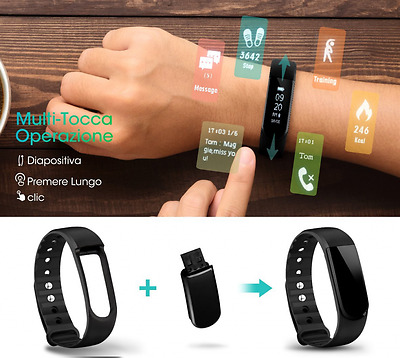 Smart Band Braccialetto Sport Bluetooth 4.0 Bracciale Fitness Tracker Attivit&#x