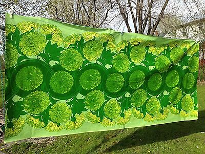 2.5 Yds VTG Upholstery Canvas Oil Cloth Fabric Mod Psychedelic Green Mod Retro
