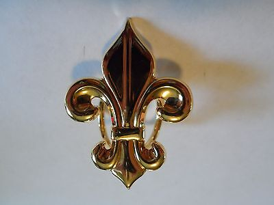 Gold Tone Fleur-Di-Lis Scarf Slide, Clip, Unmarked, 1 5/8""