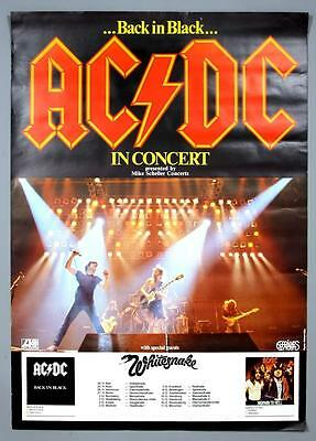 AC/DC - mega rare original Germany BACK IN BLACK concert poster ALL DATES!