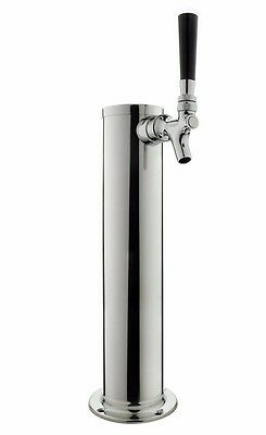 """Kegco DT145-1S-ASC 14"""" Polished Stainless 1-Tap Tower & Stainless Steel Faucet"""