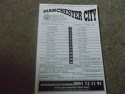Manchester City V Bradford City Reserves Pontins League 29Th March 1995 S/s