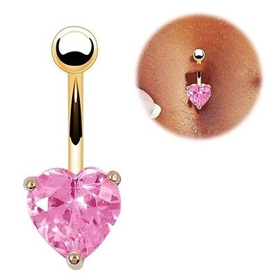 Piercing Ombelico Barra Acciaio Chirurgico Rosa Cuore oro Belly Button Heart