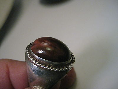 Vintage Sterling Silver Southwestern  Brown Cats Eye Ring, size 9.5, 18.17 gr.